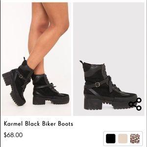 e275db9f41b PrettyLittleThing Shoes - PRETTYLITTLETHING Karmel Black Biker Boots